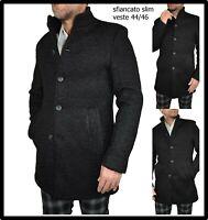 cappotto trench soprabito da uomo elegante invernale nero lungo slim fit 46