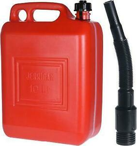 10L Red Plastic Jerry Can Funnel Spout Fuel Container Petrol Bottle Diesel Oil