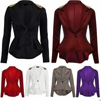 LADIES CELEB CROP FRILL SHIFT SLIM FIT PEPLUM STUDD SPIKE BLAZER COAT JACKET TOP