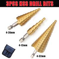 3pcs 4-12/20/32mm HSS Fraise Foret Forage à Étage Conique HSS Drill Bit Perçage