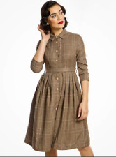 Lindy Bop 'Charlotte' Rustic Check Vintage Style Tweed Shirt Dress BNWT