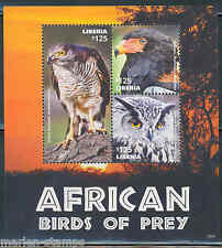 LIBERIA  2015 AFRICAN BIRDS OF PREY  SHEET II  MINT NEVER HINGED