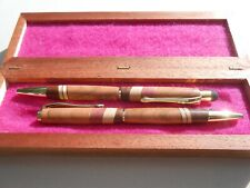 hand made wooden cross style pen set & box