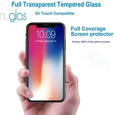Nuglas Black EDGE to EDGE Tempered Glass Screen Protector Guard For iPhone X 10