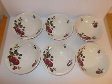 6 x Vintage Ridgway Ironstone Bromsgrove Fruit Design Cereal Soup Bowls Lovely