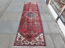 Vintage Shabby Chic Worn Hand Made Traditional Oriental Wool Red Runner 286x84