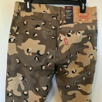 NWT MEN'S LEVIS LO-BALL STACK LEOPARD CAMO 4-WAY RIPPED SLIM TAPERED JEANS
