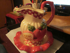 Cracker Barrel1997 Apple  Pitcher and Bowl - Red Checks and Solid White With Red