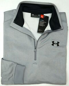 NWT $55 Under Armour 1/4 Zip Loose Fit Mens Size MD Gray Heather ColdGear Grey