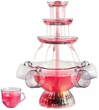 Tabletop Fountain Lighted Party Clear Liquor Dispenser Fruit Punch Bowl Set