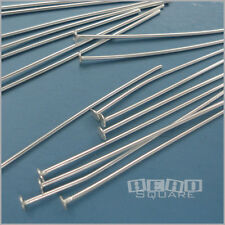 Solid Sterling Silver Flat Head Pins T-Pins, DIY Charm Beads [Choose Size]