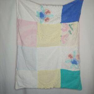 Homemade Vintage Chenille Patchwork Multi Patterns Gingham Baby Blanket Pink