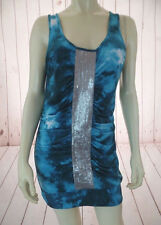 Bisou Bisou Tank Top L Aqua Teal Tie Dye Effect Ruched Silver Sequin Front BOHO!