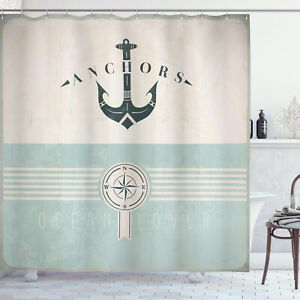 Nautical Shower Curtain Vintage Marine Anchor Print for Bathroom