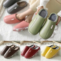 Men Women Shoes House Slippers PU Leather Plush Winter Waterproof Home