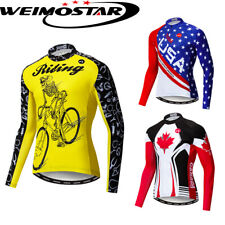 Men's New Cycling Jersey Breathable Tight Bike Clothes Bicycle Long Sleeve Tops