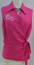 Studio I 1 BOHO hot pink linen wrap blouse top shirt lined bead Size 18 NEW VTG