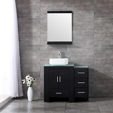 36inch Single Bathroom Vanity Wood Cabinet Ceramic Vessel Sink w/Glass Top Set