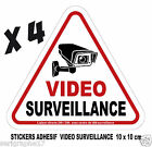 Lot de 4 stickers adhesif camera video surveillance / format 10x10cm / ref SV01