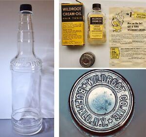 Vintage LOT Barber Shop WILDROOT Die Stamp ~ Bottle ~ MIB CREAM OIL HAIR TONIC