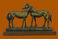 ORIGINAL HORSES IN LOVE BRONZE SCULPTURE MARBLE BASE FIGURINE HOME DECOR GIFT