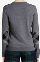 BURBERRY Check Elbow Patch Merino Wool Sweater in Mid Grey Melange XS