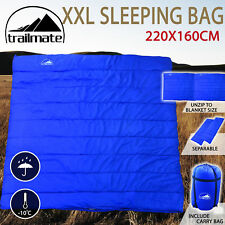 Double Sleeping Bag Outdoor Camping Hiking Thermal Tent Winter -10°C 220x160cm