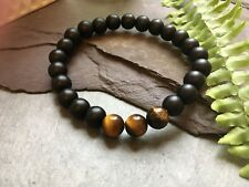 Black Onyx and Tigers Eye Stone Bead Stretch Bracelet Fashion. Mens. Ladies.