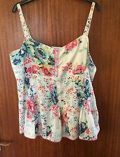 M&S Per Una Ladies Floral Camisole Style Cotton Top, Size 16