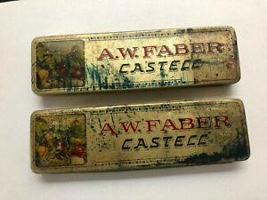 2 Vintage A.W. Faber Castell Tins 17 Pencils 4H Nurnberg Germany