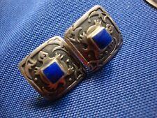 Silver Lapis Lizard Earrings Native American Estate 925 Sterling