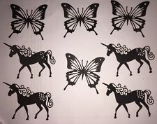 Unicorn Butterfly Die Cut Out Silhouettes Shapes Card Craft Fairy Jar X 8