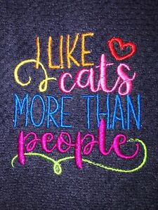 Embroidered Blue Kitchen  Hand Towel    I like cats more than people BS2129