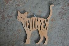 Devon Rex Cat Kitten Wood Hand Made Christmas Ornament Scroll Saw Hang Tag