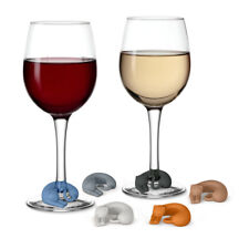 Fred and Friends Wine Lives Kitty Wine Markers, Set of 6, Cat Drink Glass Charms