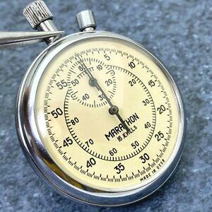 RARE Soviet Stopwatch MARATHON 16 Jewels Mechanical Pocket Made in USSR Vintage
