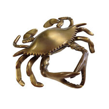 Antiqued Brass Blue Crab Paper Weight- Antique Vintage Nautical Beach Decor