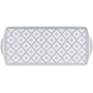 Small Long Narrow 38cm Grey White Aztec Geometric Tea Coffee Biscuit Snack Tray