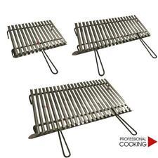 Griglia graticola bistecchiera con canalette in acciaio inox per barbecue camino