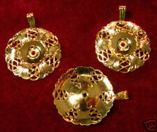 Pendant Gold Plated Bloom 11mm diameter Ø Round (pkg of 3) 0241