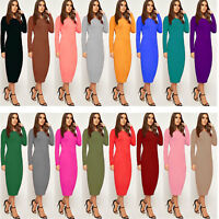 Women's Ladies Stretchy Long Sleeve Bodycon Plain Jersey Midi Dress 8-26