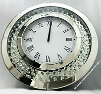 Sparkly Floating Crystal Sparkly Large Round Silver Mirrored Wall Clock 50 cm