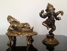 Pair Of Intricate Indian Cast Brass Reclining And Standing Ganesh Statues