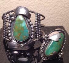 M JOHNSON Sterling X-LARGE TURQUOISE CUFF BRACELET & RING SET Native American