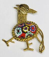 Vintage Estate Xo Gold 12K Gf Mosaic Millefiori Open Design Bird Brooch Pin/pend