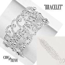 HIGH END WIDE CLEAR RHINESTONE CRYSTAL BRACELET FORMAL WEDDING CHIC AND TRENDY