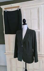 Escada-2Pc.Dark Olive-Blazer&Skirt-top Stitch-woven Design Back-Pristine-Sz.M
