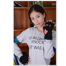 Black Winter Women Half Finger Paw Gloves Fingerless Fluffy Bear Cat Plush Paw