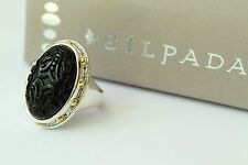 Silpada NIB Into The Night Black Brass Agate Sterling Silver Size 9 Ring R3362