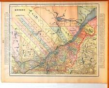 Beautiful Original 1899 Quebec Large Color Map/10x14